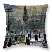 Electric Streetlight, 1881 Throw Pillow