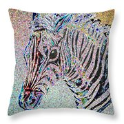 Electric Zebra Throw Pillow