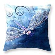 Electrified Dragonfly Throw Pillow