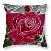 Electrostatic Rose Throw Pillow