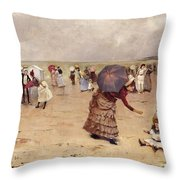 Elegant Figures On A Beach Throw Pillow