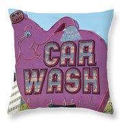 Elephant Car Wash Throw Pillow