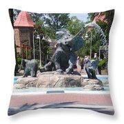 Elephant Fountain Throw Pillow