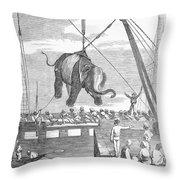 Elephant Hoist, 1858 Throw Pillow