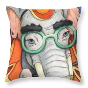 Elephant In Glasses Throw Pillow