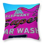 Elephant Super Car Wash Boost Throw Pillow