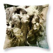 Elephants Gone Wild Throw Pillow
