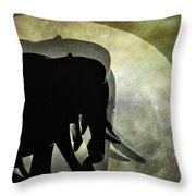 Elephants On Moonlight Walk 2 Throw Pillow