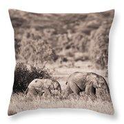 Elephants Walking In A Row Samburu Kenya Throw Pillow