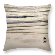 Elevated View Of A Horseback Rider Throw Pillow