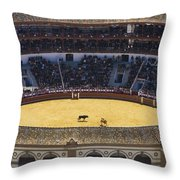 Elevated View Of Bullring Throw Pillow by Axiom Photographic
