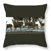 Eleven Deer Standing Throw Pillow