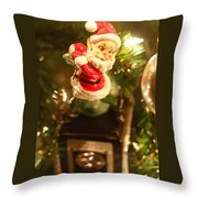 Elf On A Camera Throw Pillow by Toni Hopper