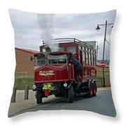 Elizabeth - Steam Bus At Whitby Throw Pillow