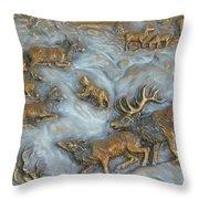 Elk And Bobcat In Winter Throw Pillow
