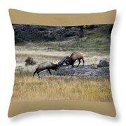 Elks Rutting Throw Pillow
