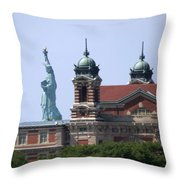 Ellis Island And Statue Of Liberty Throw Pillow
