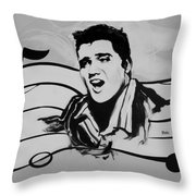 Elvis In Black And White Throw Pillow