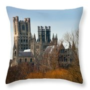 Ely Cathedral Scenic Throw Pillow