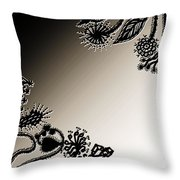 Embroidery At Corners Throw Pillow