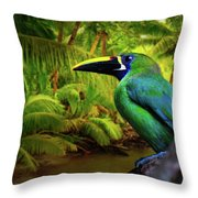 Emerald And Blue Toucan  Throw Pillow