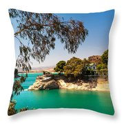 Emerald Lake With Duke House. El Chorro. Spain Throw Pillow