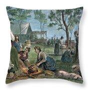 Emigrants: Arkansas, 1874 Throw Pillow by Granger