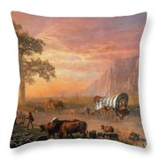 Emigrants Crossing The Plains Throw Pillow by Photo Researchers