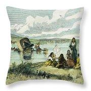 Emigrants In Nebraska, 1859 Throw Pillow by Granger