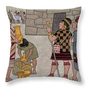 Emissaries Bring Tribute To Inca Throw Pillow