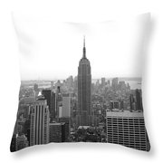 Empire State Building In Black And White Throw Pillow