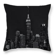 Empire State Building Lightning Strike II Throw Pillow