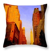Empire State Building Sunset Throw Pillow