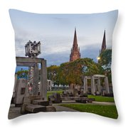 Empire State Plaza And Cathedral Of The Immaculate Conception Throw Pillow