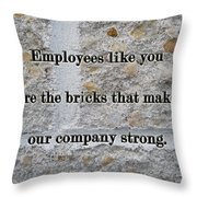 Employee Service Anniversary Thank You Card - Cement Wall Throw Pillow