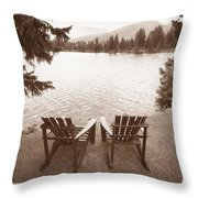 Empty Chairs On Waterfront Throw Pillow