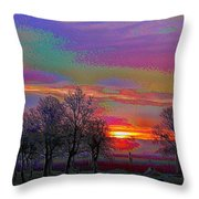 Enameled Sunrise Of Northern California Throw Pillow