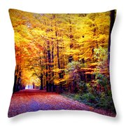 Enchanted Fall Forest Throw Pillow by Carol Groenen