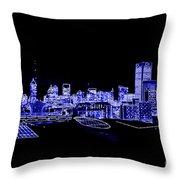 Energetic Atlanta Skyline - Digital Art Throw Pillow