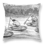 England: Coracle Race, 1881 Throw Pillow