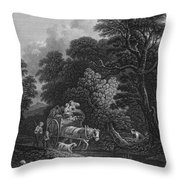 England: Market Cart Throw Pillow