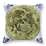 Engraving Of Moon, 1645 Throw Pillow