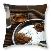 Enjoying A Plate Of Rajasthani Food On A Steel Plate On A Bamboo Table Throw Pillow