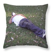 Enjoying A Snooze In A Partially Shaded Green Meadow Throw Pillow