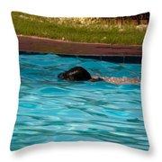 Enjoying A Swim Throw Pillow
