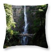 Enjoying Multnomah Falls Throw Pillow