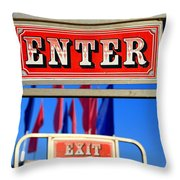 Enter And Exit Signs Throw Pillow