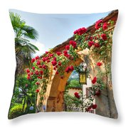 Entrance Arch With Flowers Throw Pillow