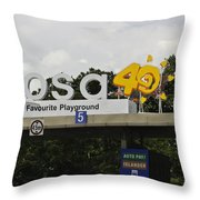 Entrance Gate For Sentosa Island In Singapore Throw Pillow