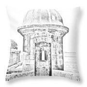 Entrance To Sentry Tower Castillo San Felipe Del Morro Fortress San Juan Puerto Rico Bw Line Art Throw Pillow
